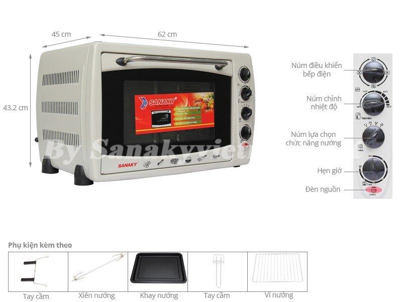 Chi tiết lò nướng Sanaky VH-509B