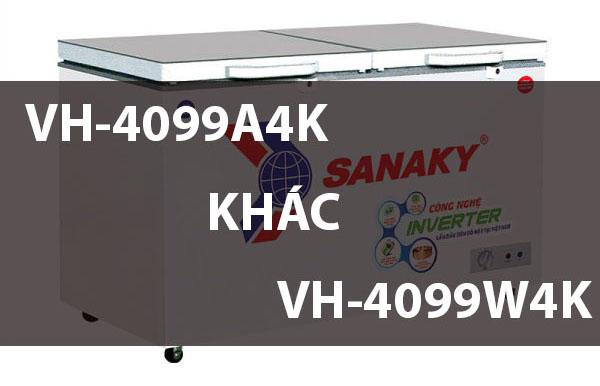 So sánh tủ đông VH-4099A4K và VH-4099W4K