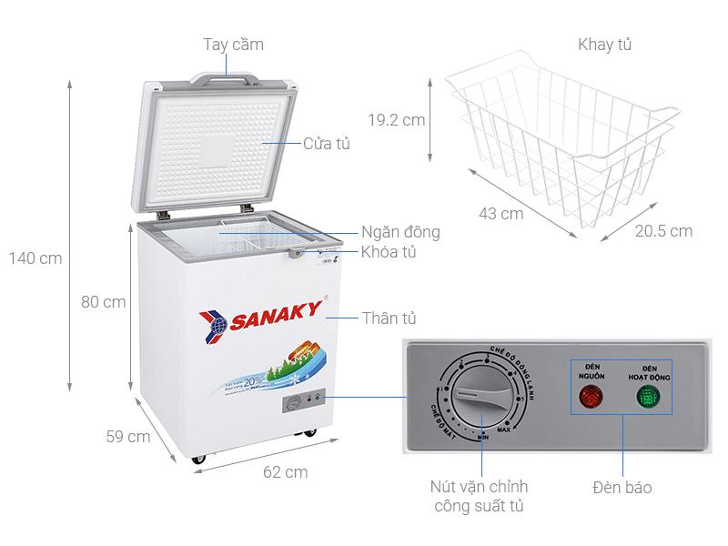 Thông số kỹ thuật tủ đông Sanaky VH-1599HY