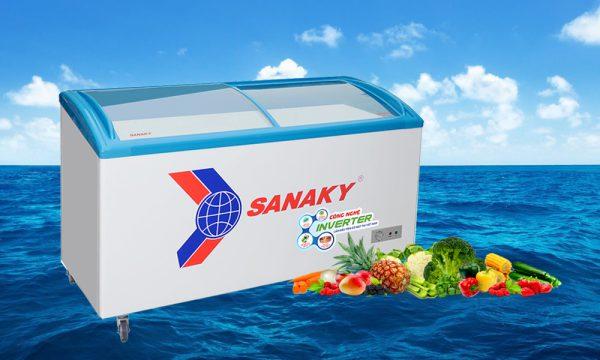 tủ đông mặt kính cong Sanaky Inverter